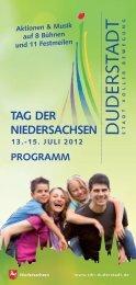 Programmheft zum Download - Tag der Niedersachsen Duderstadt ...