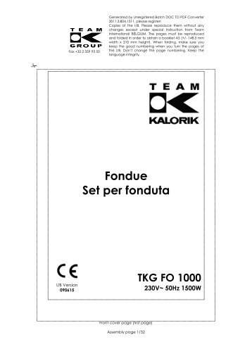 Fondue Set per fonduta TKG FO 1000 230V~ 50Hz 1500W