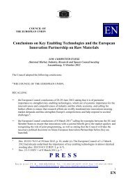 The European Innovation Partnership on Raw Materials ... - Euromines