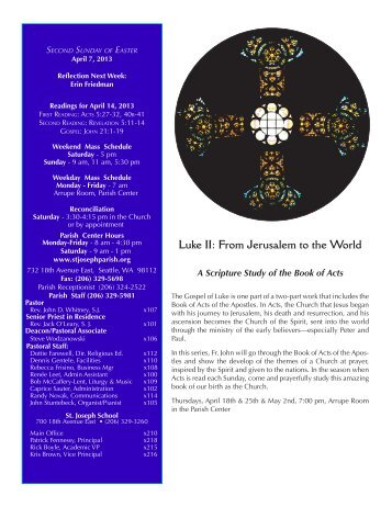 April 7, 2013 Bulletin - St. Joseph Parish