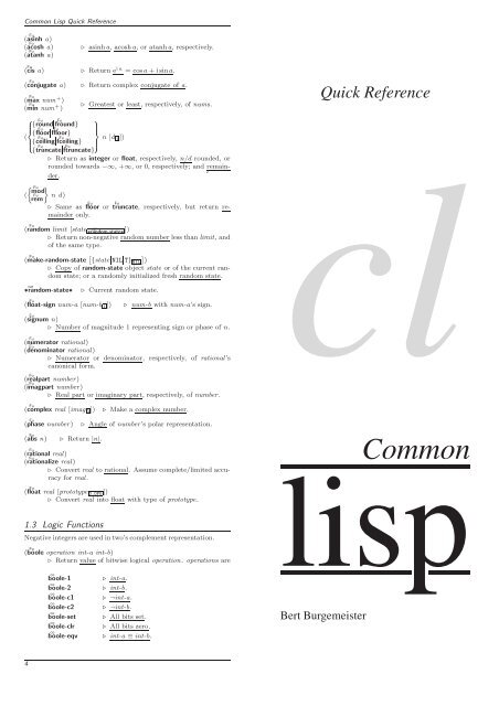 Common Lisp Quick Reference - Cheat Sheet