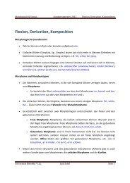 Flexion, Derivation, Komposition - Universität Bielefeld