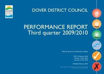 Performance Report 2009 , 3rd quarter - Dover District Council