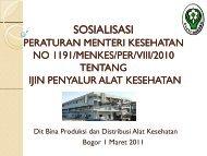 sosialisasi - Direktorat Jenderal Bina Kefarmasian dan Alat Kesehatan