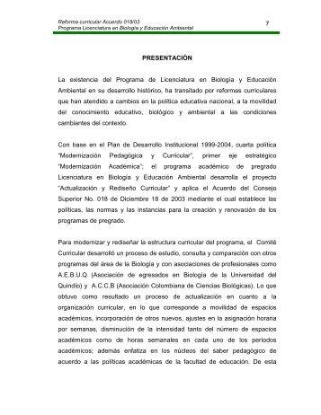 Reforma curricular Acuerdo 018/03 Programa Licenciatura en ...