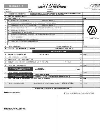 CITY OF ARVADA SALES & USE TAX RETURN SCHEDULE - A