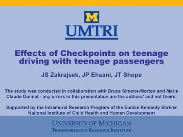 Effects of Checkpoints on teenage driving with teenage passengers