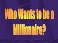 Review for Final: Millionaire