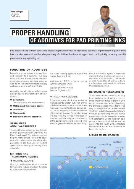 Proper handling of Additives for Pad Printing Inks - Coates