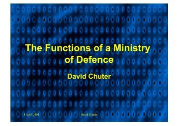 The Functions of a Ministry of Defence
