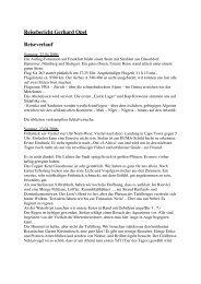 Reisebericht Gerhard Opel Reiseverlauf - Out of Africa Safaris