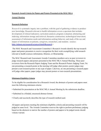 Research Award Criteria for Papers and Posters Presented at the ...