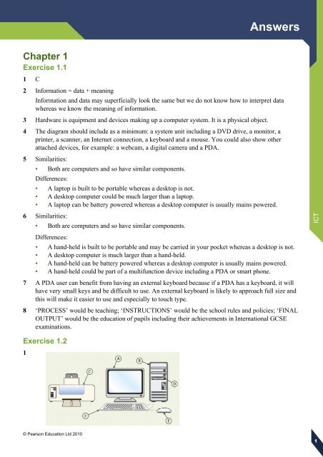Edexcel IGCSE ICT Answers Pearson Global Schools