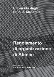 regolamento di organizzazione Università di Macerata, artt. 74