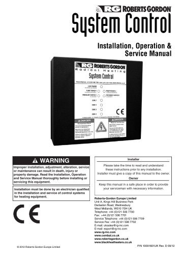 Nrg control installation, operation and service manual | manualzz. Com.