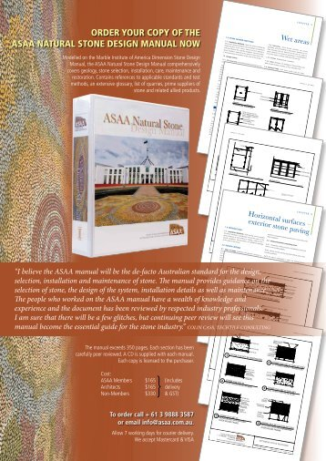 order your copy of the asaa natural stone design manual now - Infotile