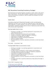 BAC Educational Consulting Consultancy Packages