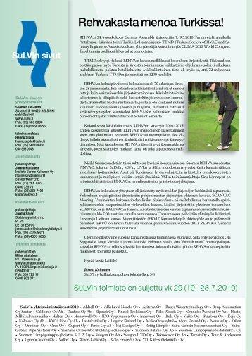 Vihreät sivut 5/2010 - Suomen LVI-liitto | SuLVI ry
