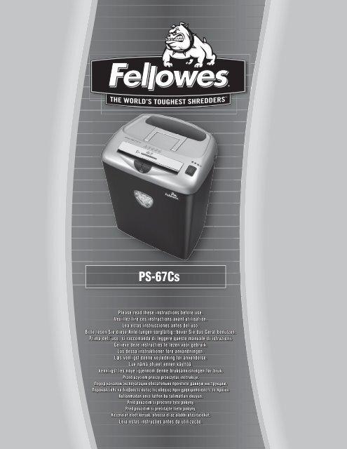 Manuel d'utilisation PS67Cs - Fellowes