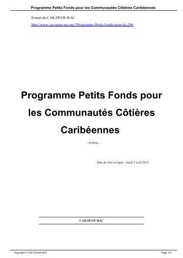 Programme Petits Fonds pour les Communautés ... - CAR-SPAW-RAC