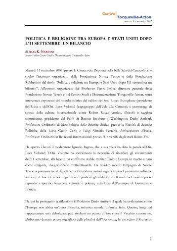 politica e religione tra europa e stati uniti dopo l ... - Tocqueville-Acton