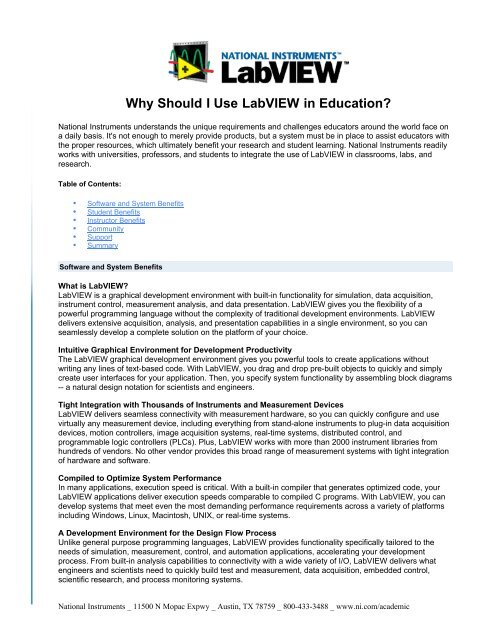 Why Should I Use Labview In Education Tyc Physics Workshop