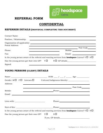 Case Referral Form Confidential 1) Information of the Referrer Date