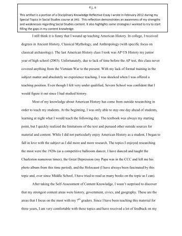 Reflective writing essay