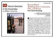 CCIHonors Seminars in the Humanities - David Jennings Gramling