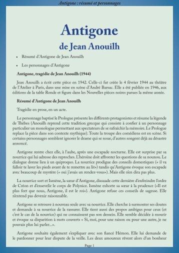 resume  u00e2 antigone  jean anouilh  1944