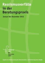 Rassismusvorfälle in der Beratungspraxis 2012 - Eidgenössische ...