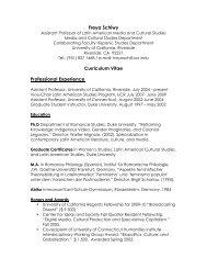 Freya Schiwy Curriculum Vitae Professional ... - Hispanic Studies
