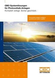 OBO Systemlösungen für Photovoltaik-Anlagen ... - OBO Bettermann