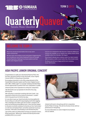 Quarterly Newsletter Term 3 - 2013 - Yamaha Music School