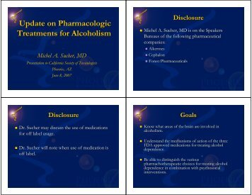 Update on Pharmacologic Treatments for Alcoholism - California ...