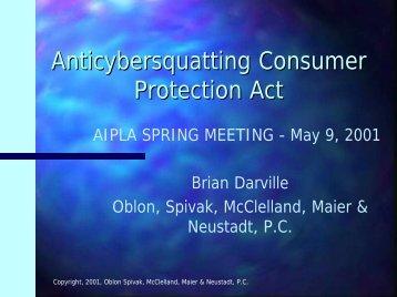 Anticybersquatting Consumer Protection Act, AIPLA ... - Oblon Spivak