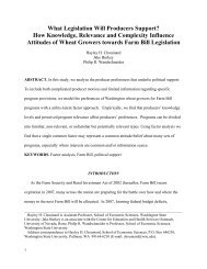 What Legislation Will Producers Support? - College of Agricultural ...