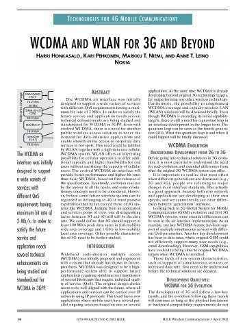 WCDMA and WLAN for 3G and beyond