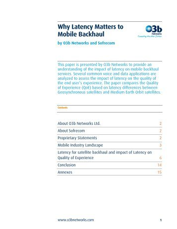 Why Latency Matters to Mobile Backhaul - O3b Networks