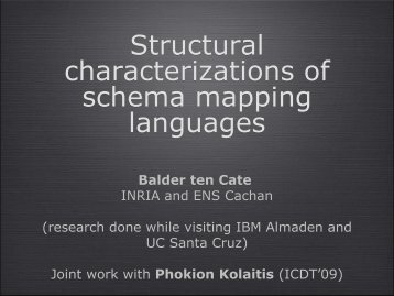 Structural Characterizations of Schema Mapping Languages - Inria