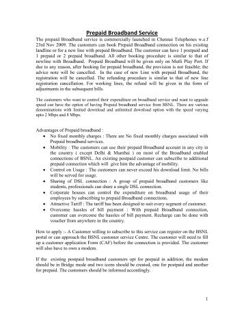 Prepaid Broadband Service - Chennai Telephones - BSNL