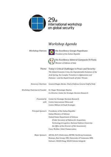 to view the 2012 Rome Workshop agenda - Center for Strategic ...