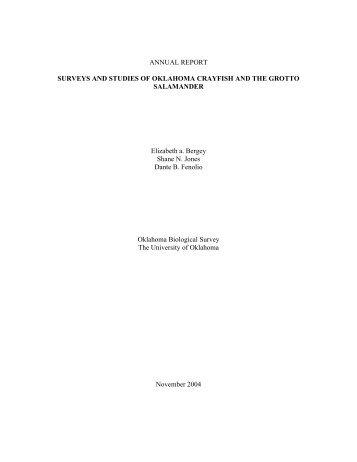 PROJECT STATEMENT - Oklahoma Biological Survey - University ...