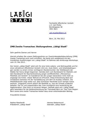 Ausführliche Stellungnahme vom 16. Mai 2012 - Läbigi Stadt