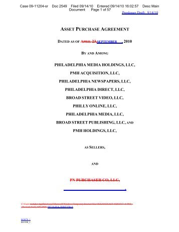Asset Purchase Agreement Philadelphia Media ...   Pnreorg.com