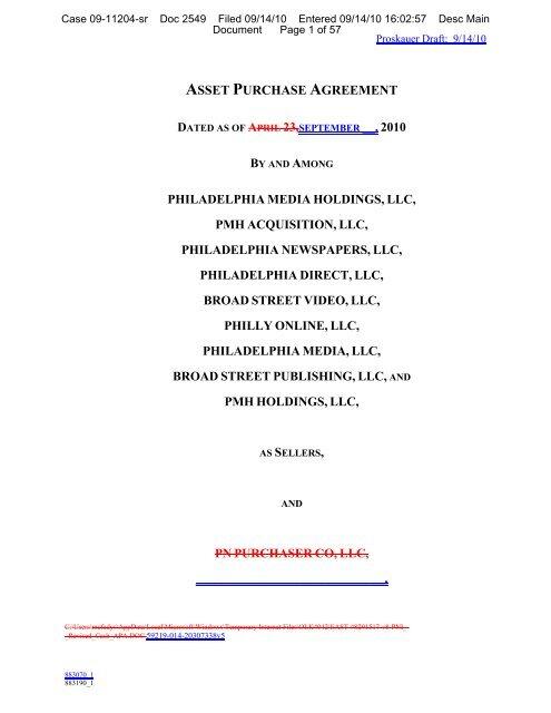 Asset Purchase Agreement Philadelphia Media Pnreorg