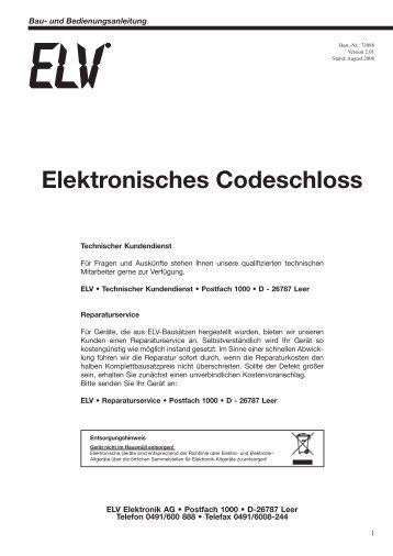 Elektronisches Codeschloss - TecHome.de