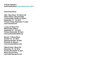 O Book Publisher / Artist Publications / New Publications 2012 ...