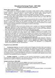 Il Progetto di Scambio educativo 2007/2008 - Rete Civica di Milano