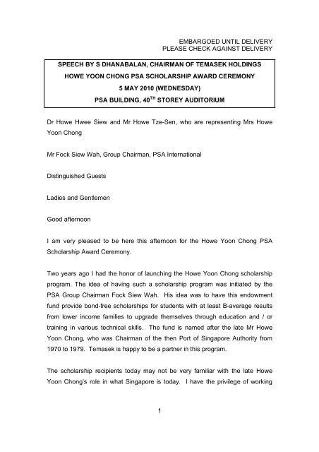 Speech By Mr Dhanabalan, Chairman Of Temasek Holdings - PSA
